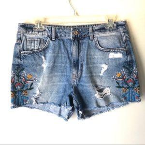 Zara Floral Embroidered Cutoff Jean Shorts